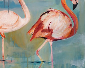 whimsical abstract pink orange flamingos teal and peach acrylic painting
