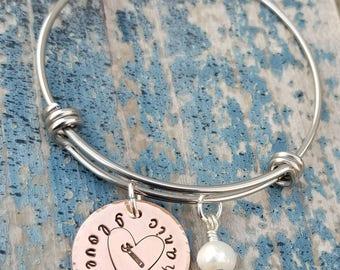 I Love My Mechanic Bracelet With Fresh Water Pearl