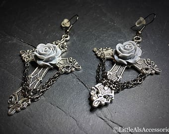 Silver Cross Earrings, Large Cross Earrings with Roses, Gothic Jewelry, Silver Cross Earrings, Cross Jewelry, Goth Earrings, Gothic Earrings
