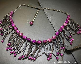Gunmetal Beaded Necklace with Purple Pearls, Fringe Choker, Pearl Jewelry, Purple & Grey, Valentines Day Gift, Punk Jewelry, Semi Precious