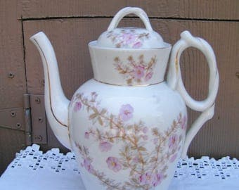 1800s Antique Victorian Porcelain Carlsbad Teapot Coffee Pot White Brown and Pink Floral Pattern Twisted Handles Marz & Gutherz Tea Party