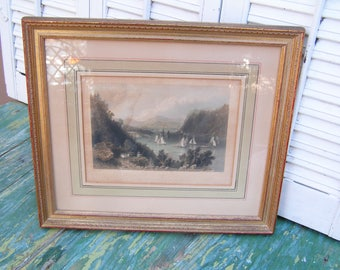 Original Antique Vintage Engraving Bartlett View Near Anthony's Nose Professionally Framed