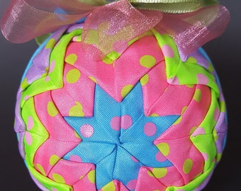 Pink, green, and Blue Dotted Ribbon Quilted Ornament