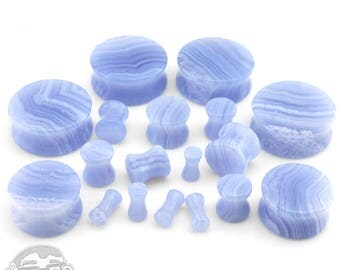 Blue Lace Agate Stone Plugs - Sizes / Gauges (8G - 1 Inch) - New!