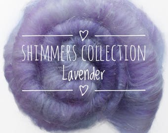 """SHIMMERS collection of hand carded batts - """"LAVENDER"""" - spinning felting weaving. Made to order"""