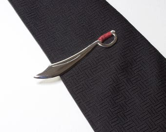 Cutlass Tie Bar, Sterling Silver Cutlass Tie Clip, Sword Lapel Pin, Pirate Cutlass, Mens Jewelry, Hand Forged Sword, Cool Guys Gift