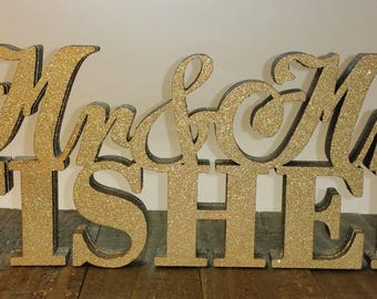 CUSTOM Stand Alone Couple Name for Wedding Party -  3 different sizes -  Raw or Custom Color. Mr and Ms - 3D Names -  Letters Stand Alone