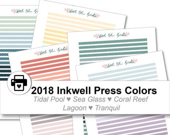 2018 Inkwell Press Planner & other planners Thin Washi Printable Sticker Kit, Tidal Pool, Sea Glass, Coral Reef, Lagoon - Instant Download