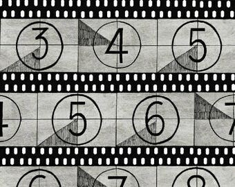 Movie Fabric, Countdown, Movie Start - Lights! by Whistler Studio for Windham  - 42853 5 Gray -  Priced by 1/2 yard