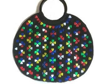 60s 70s BOHO Heart Beaded PURSE Hippie Chic MOD Fashion Vintage Lucite Colored Hearts Black Beaded HandBag Evening Bag Hipster Hand Bag Gift