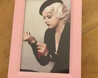 Jean Harlow colour print in a baby pink frame 6x4""