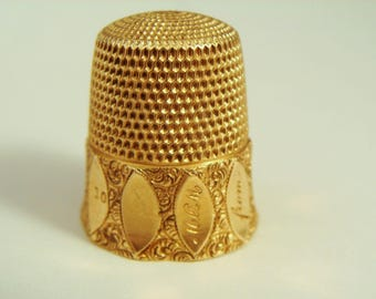 Antique 14K Yellow Gold Thimble Floral Design Size 10 By Simons Brothers