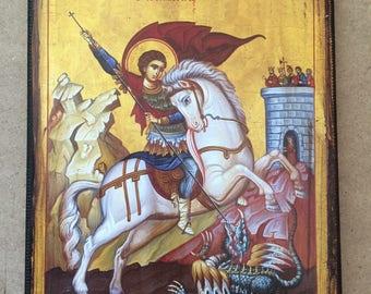 Saint George   handmade icon- byzantine old style