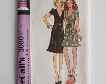 Wrap dress vintage sewing pattern, McCall's 3080, size 7 misse's and junior petite dress, new uncut pattern, vintage sewing pattern.