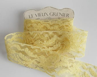 Yellow lace, 2 yards, 35mm, wide lace, vintage lace, trim ribbon, haberdashery, sewing supplies, sewing notions, wedding supplies, L32