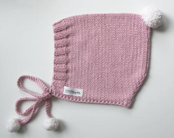 MILA Blush Pink Knitted Pixie Pom Pom Hat, Cotton- Merino Baby Hat,Fall Winter Hat,Pom Pom Hat,Size 6-12 months, Ready to Ship