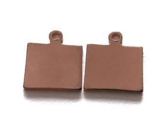 2x Rose Gold Plated Blank Wyoming State Charms - M132-WY