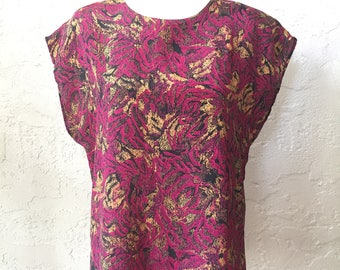 Vintage Kimono Sleeve Magenta and Gold Print Sleeveless Blouse M