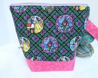 Zipper Project Bag, Beauty & the Beast Stained Glass Large Size,Shawl to Sweater Wedge, Tote Bag, Ready to Ship