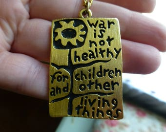 Vintage 1968 Gold Filled Hippie Peace Statement Necklace, Darling Old Necklace, Anti-War, Look! Bold!