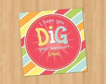 Personalized - Printable - Hope You Dig Your Summer Favor Tag - 2 x 2