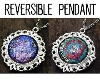 Why Not Both Reversible Pendant: Deep Purple Nebula & Red Rings on Green and Gold Hand-Painted Glass. (Necklace or Keychain)