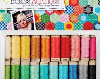 Free Shipping! LORI HOLT Bee Basics AURIFLOSS Collection 20 Wooden Spools, 18 Yards Each 30wt. Made In Italy