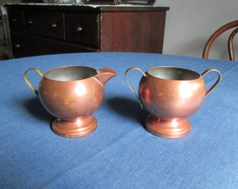 Vintage Copper Sugar Bowl and Creamer Set with Brass Handles