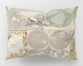 Airplanes and Maps Pillow Case - World maps and vintage planes  - sage green, boy's room,  unique travel, wander, classic, vintage design