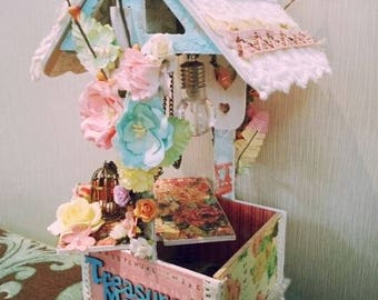 Wishing well, Altered art, piggy bank, planter