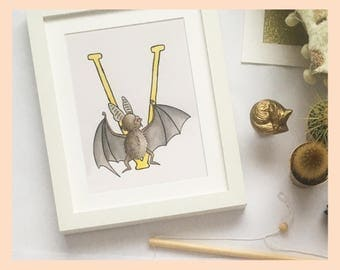 "V is for Vampire Bat. Alphabet Nursery Art 8""x10"" mounted wall decor print. New baby gift. Name illustration"