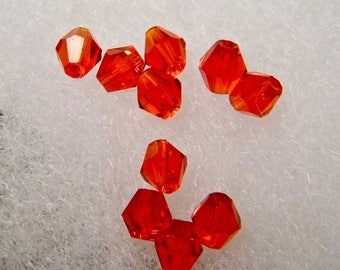 Glass beads, bicones, red, lots of 10 pieces