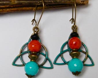 Earrings brass, pearl beads, pearls, glass and wood gift idea for woman
