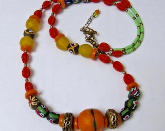 """""""PROMOTION - 20% - necklace African beads from Ghana and Kenya, Africa Earth"""" gift idea for woman"""