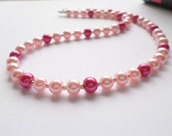 Pink pearl necklace, pale pink necklace, pastel pink necklace, fuchsia pink necklace, pink pearl choker, pink choker