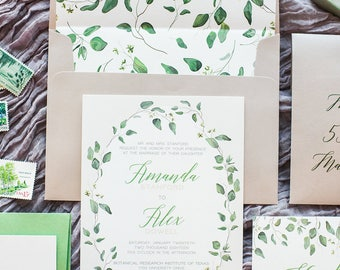Neutral Beige, Ivory Greenery Leaves Wedding Invitation with RSVP, Envelope Liner, Calligraphy Guest Address - Other Colors Available