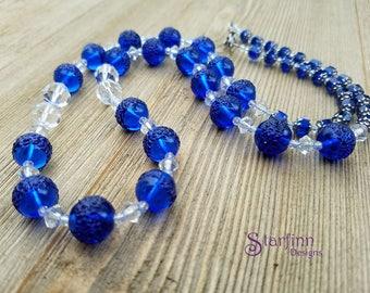German Glass Bead Necklaces, Cobalt Blue, Swarovski Crystal, Beaded Necklaces, Vintage Jewelry, Glass Beads, Czech Glass