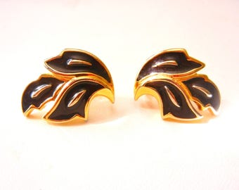 10% OFF Crown Trifari Earrings Vintage 1960s Clip Ons Black & Gold Plate Mid Century Double Signed Perfect Cond SHIPPING SPECIAL 0225 12443