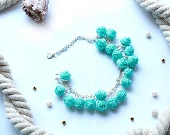 Fabric bracelet Rose bracelet Green fabric jewelry Flower bracelet Floral jewelry Clusters bracelet  Friendship bracelet Textile bracelet