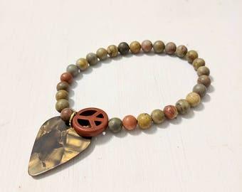 Natural Stone Guitar Pick Stretchy Bracelet