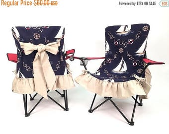Final Sale Nautical Slip Cover, Sitting on the Dock or on a Yacht, Adorable Camping Chair, GCC-168
