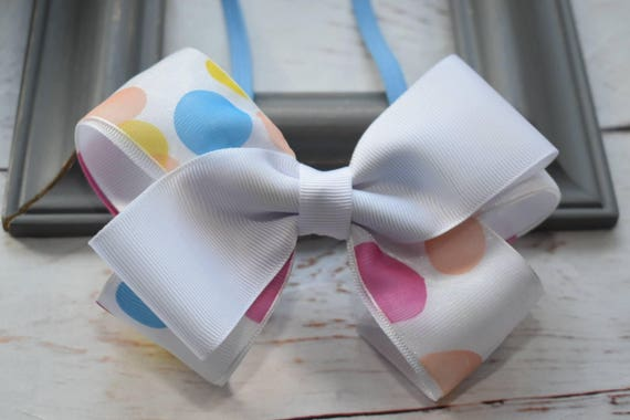 White Polka Dot Bow - Baby / Toddler / Girls / Kids Headband / Hairband / Hair bow / Barrette / Hairclip