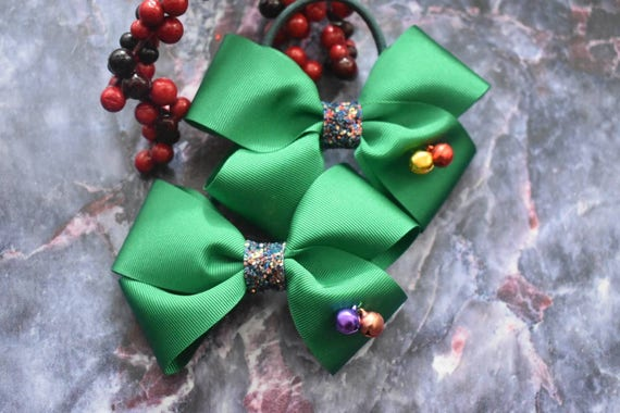 Pair of Emerald Green Jingle Bow Christmas hair ties - Kids / Toddlers / Girl pony tail holders / scrunchies
