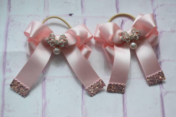 Pair of pastel pink bows with drop pearl diamante / hair ties / pigtail bows / pony tail ties / flowergirl bow / birthday bows / glitter bow