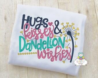 Hugs Kisses Dandelion Wishes Shirt or Bodysuit, Baby Shower Gift, Dandelion Wishes Shirt, Wish Shirt, Wish on a Dandelion Shirt