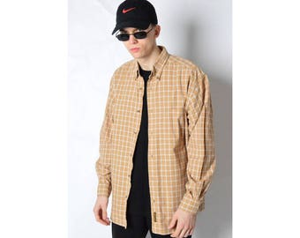 Timberland Vintage 90s Camel Brown Check Long Sleeve Shirt Size M L