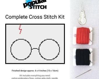 Harry Potter, Glasses and Scar - Cross Stitch Kit - Harry Potter Silhouette - Cross-Stitch Pattern Kit