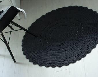 Crocheted round graphite rug 100cm 40'', crochet rug, graphite rug, charcoal rug, scandinavian rug, round rug | round carpet | nursery rug