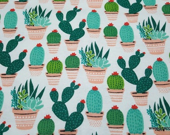 Flannel Fabric - Potted Cacti - By the yard - 100% Cotton Flannel
