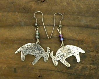 Vintage Sterling Cow Dangle Earrings Folk Art Tribal Southwest Ethnic